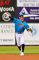 Wisconsin Timber Rattlers second baseman Brice Turang (2) makes a throw to first base during a Midwest League game against the Lake County Captains on May 10, 2019 at Fox Cities Stadium in Appleton, Wisconsin. Wisconsin defeated Lake County 5-4. (Brad Krause/Four Seam Images)