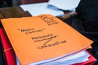 Faldoni su un tavolo all'udienza di apertura del processo su Mafia Capitale, al Tribunale di Roma, 5 novembre 2015.<br /> Folders on the table at the opening audience of the trial on Mafia Capitale, at Rome's court, 5 November 2015.<br /> UPDATE IMAGES PRESS/POOL - AGF - Alessandro Serrano'˜