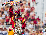 Florida State mascot, Osceola atop Renegade leads the team onto the field for an NCAA college football game against Syracuse in Tallahassee, Fla., Saturday, Nov. 4, 2017. Florida State defeated Syracuse 27-24.  (AP Photo/Mark Wallheiser)