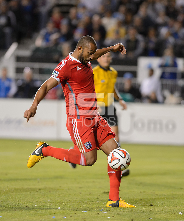 Santa Clara, Ca - Saturday, March 15, 2014: The San Jose Earthquakes tied Real Salt Lake 3-3 in stoppage time at Buck Shaw Stadium. Victor Bernardez scores his second goal.