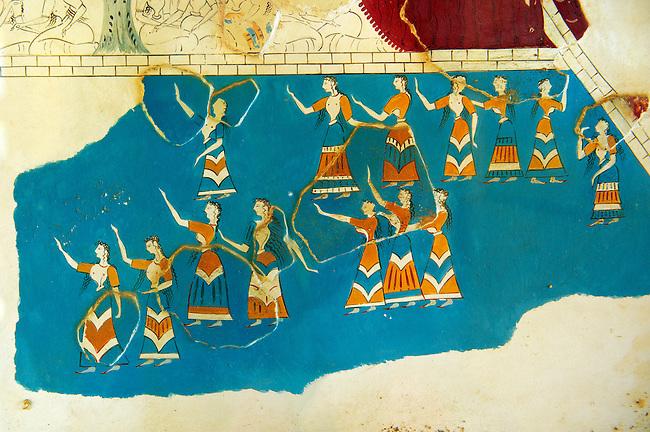 Arthur Evans reconstruction of Dancing girls fresco  at Knossos. Knossos Minoan archaeological site, Crete