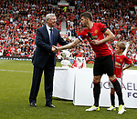 Michael Carrick thanks Sir Alex Ferguson for bringing him to the club during the Michael Carrick Testimonial match at the Old Trafford Stadium, Manchester. Picture date: June 4th 2017. Picture credit should read: Simon Bellis/Sportimage