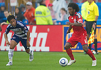 July 24, 2010  FC Dallas midfielder Bruno Guarda #8 and Toronto FC midfielder Julian de Guzman #6 in action during a game between FC Dallas and Toronto FC at BMO Field in Toronto..Final score was 1-1.