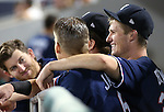Reno Aces teammates talk in the dugout during a game against the Las Vegas 51s in Reno, Nev., on Saturday, Sept. 6, 2014. The Reno Aces defeated the Las Vegas 51s, 7-3, to win the Pacific Conference Championship Series. <br /> Photo by Cathleen Allison
