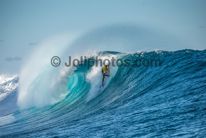 Namotu Island Resort, Nadi, Fiji (Wednesday, June 15 2016):   Matt Wilkinson (AUS) - The Fiji Pro, stop No. 5 of 11 on the 2016 WSL Championship Tour, was recommenced today at Cloudbreak with a new SSW swell in the 6' plus range. The contest had endured a long spell of layaways due to small conditions but it roared back to life with the new swell which is expected to continue for the rest of the waiting period.<br /> The hat of the day was between Taj Burrow (AUS) who has retired for the pro tour and John John Florence (HAW) who is being tipped as a World Champion this year.<br /> Both surfers were counting two 9 pt plus rides in their scores but it was Florence who scraped through finishing Burrows 18 year career on a high.<br /> Photo: joliphotos.com