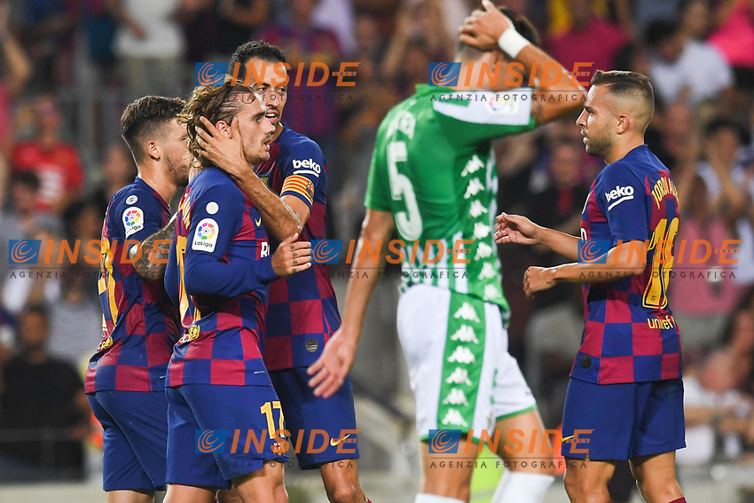 FOOTBALL: FC Barcelone vs Real Betis - La Liga-25/08/2019<br /> Griezmann (FCB), Sergio Busquets (FCB), Jordi Alba (FCB) celebrate  <br /> 25/08/2019 <br /> Barcelona - Real Betis  <br /> Calcio La Liga 2019/2020  <br /> Photo Paco Largo/Panoramic/insidefoto
