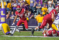 NWA Democrat-Gazette/BEN GOFF @NWABENGOFF<br /> Jonathan Nance, Arkansas wide receiver, runs the ball after a catch in the first quarter Saturday, Nov. 11, 2017 at Tiger Stadium in Baton Rouge, La.