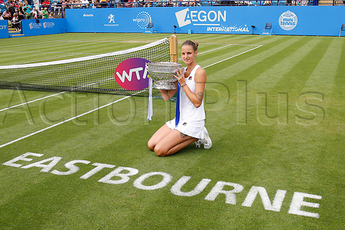July 1st 2017, Devonshire Park, Eastbourne, England; Aegon International Eastbourne; Finals Day; Karolina Pliskova (CZE) versus Caroline Wozniacki (DEN);  Pliskova celebrates her victory with the winners trophy as she won the Final match 6-4 6-4