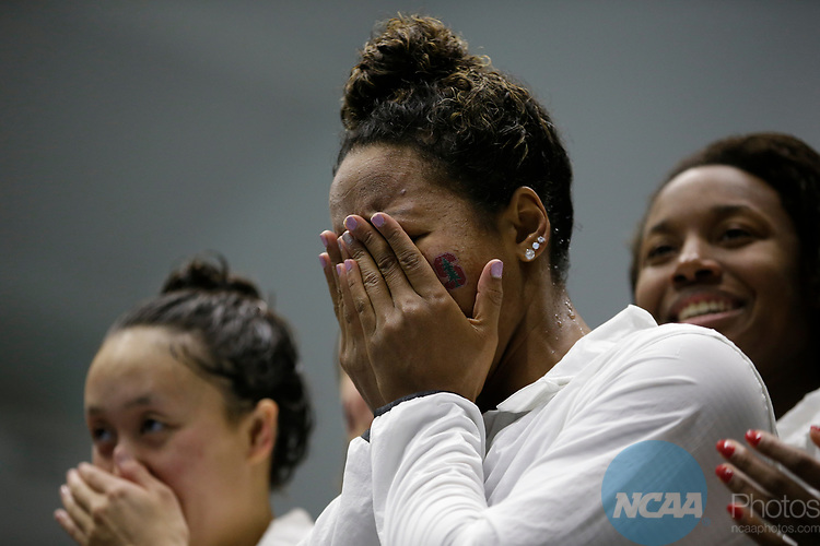 INDIANAPOLIS, IN - MARCH 18: Lia Neal  of Stanford celebrates with her 400 Yard Freestyle Relay team after setting a new NCAA record during the Division I Women's Swimming & Diving Championships held at the Indiana University Natatorium on March 18, 2017 in Indianapolis, Indiana. (Photo by A.J. Mast/NCAA Photos via Getty Images)