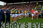 The Kerry team giving the All Ireland champions Cork a guard of honour at Austin Stack park, Tralee on Sunday.