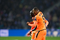 Liverpool's Sadio Mane celebrates scoring the opening goal with team mate Georginio Wijnaldum <br /> <br /> Photographer Craig Mercer/CameraSport<br /> <br /> UEFA Champions League Round of 16 First Leg - FC Porto v Liverpool - Wednesday 14th February 201 - Estadio do Dragao - Porto<br />  <br /> World Copyright &copy; 2018 CameraSport. All rights reserved. 43 Linden Ave. Countesthorpe. Leicester. England. LE8 5PG - Tel: +44 (0) 116 277 4147 - admin@camerasport.com - www.camerasport.com