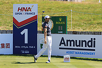 Gregory Bourdy (FRA) on the 1st tee during Round 1 of the HNA Open De France at Le Golf National in Saint-Quentin-En-Yvelines, Paris, France on Thursday 28th June 2018.<br /> Picture:  Thos Caffrey | Golffile