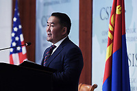 Washington, DC - July 30, 2019: Mongolia President Khaltmaagiin Battulga delivers remarks at the Center for Strategic and International Studies (CSIS) in Washington D.C., July 30, 2019. (Photo by Lenin Nolly/Media Images International)