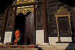 Monks and temple in Rural landscape in northern Thailand- Chiang Mai