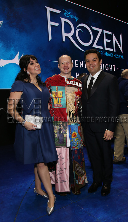 Kristen Anderson-Lopez and Robert Lopez with Jeremy Davis  during the Actors' Equity Opening Night Gypsy Robe Ceremony honoring Jeremy Davis for 'Frozen' at the St. James Theatre on March 22, 2018 in New York City.