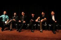 LOS ANGELES - NOV 9: Randy Slovacek, Chuck Saculla, Chris Ekstein, Benjamin Pollack, Matt Zarley, George Takei  at the special screening of Matt Zarley's 'hopefulROMANTIC' at the American Film Institute on November 9, 2014 in Los Angeles, California