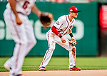 1 August 2018: Washington Nationals shortstop Trea Turner in action against the New York Mets at Nationals Park in Washington, DC. The Nationals defeated the Mets 5-3 to sweep the 2-game weekday series. Mandatory Credit: Ed Wolfstein Photo *** RAW (NEF) Image File Available ***