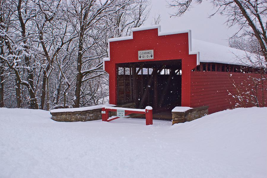 Berks County Heritage Center, Pennsylvania, winter snow, Wertz's Red Bridge, Tulpehocken Creek