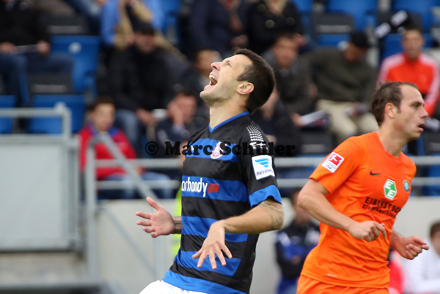 Nikita Rukavytsya (FSV) aergert sich nach vergebener Chance - FSV Frankfurt vs. FC Erzgebirge Aue, Frankfurter Volksbank Stadion