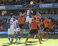 Blackburn Rovers' Derrick Williams heads a high ball in an attempt at goal<br /> <br /> Photographer Rachel Holborn/CameraSport<br /> <br /> The EFL Sky Bet Championship - Wolverhampton Wanderers v Blackburn Rovers - Saturday 22nd April 2017 - Molineux - Wolverhampton<br /> <br /> World Copyright &copy; 2017 CameraSport. All rights reserved. 43 Linden Ave. Countesthorpe. Leicester. England. LE8 5PG - Tel: +44 (0) 116 277 4147 - admin@camerasport.com - www.camerasport.com
