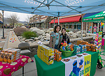 Jocelyn and Cassandra sell cookes in the Girls Scouts of the Sierra Nevada booth during the Easter Egg Hunt at Legends in Sparks, Nevada on Saturday, April 20, 2019.  The Girls Scouts scattered 10,000 eggs for the Easter Egg Hunt.