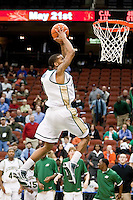 February 25, 2010:     Jacksonville guard Travis Cohn (1) prepares goes up for a dunk during Atlantic Sun Conference action between the Jacksonville Dolphins and the Campbell Camels at Veterans Memorial Arena in Jacksonville, Florida.  Jacksonville defeated Campbell 65-52.