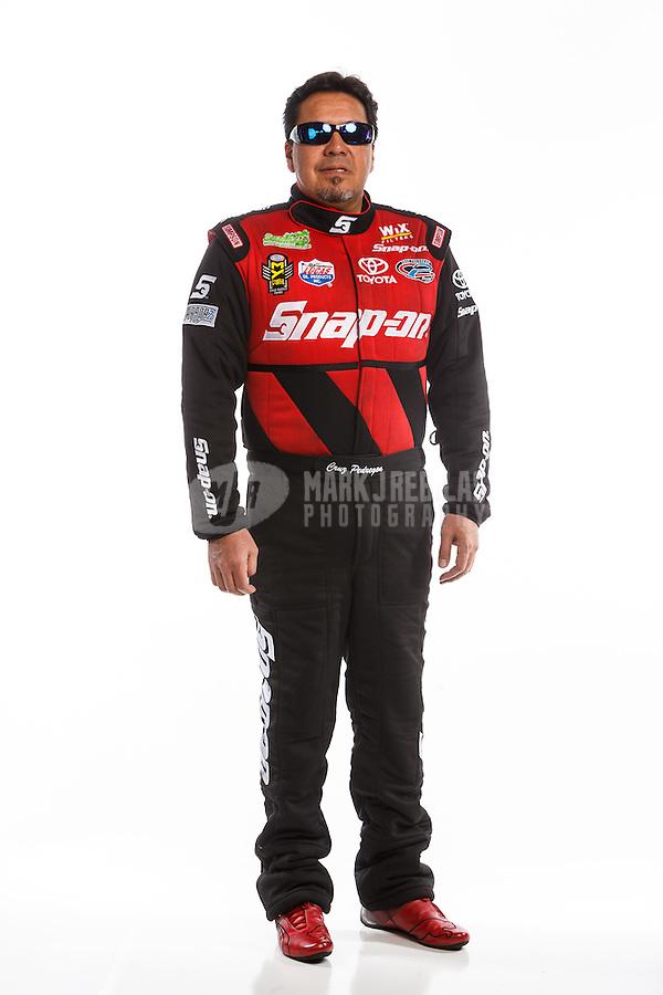 Feb 10, 2016; Pomona, CA, USA; NHRA funny car driver Cruz Pedregon poses for a portrait during media day at Auto Club Raceway at Pomona. Mandatory Credit: Mark J. Rebilas-USA TODAY Sports