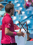 A frustrated Stan Wawrinka (SUI) loses the first set to Grigor Dimitrov ((BUL)