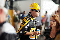 July 12, 2008; Hamilton, ON, CAN; Hamilton Tiger-Cats supporter prior to the CFL football game against the Saskatchewan Roughriders at Ivor Wynne Stadium. The Roughriders defeated the Tiger-Cats 33-28. Mandatory Credit: Ron Scheffler.