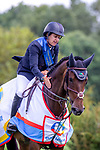 Winner. Laura Kraut riding Nouvelle. USA. The Bunn Lesiure Salver. Prizegiving. Showjumping. Longines FEI Jumping Nations Cup of Great Britain at the BHS Royal International Horse Show. All England Jumping Course. Hickstead. Great Britain. 28/07/2018. ~ MANDATORY Credit Elli Birch/Sportinpictures - NO UNAUTHORISED USE - 07837 394578