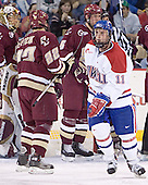 Cory Schneider, Dan Bertram, Tim Filangieri - Jeremy Hall - The Boston College Eagles defeated the University of Massachusetts-Lowell River Hawks 4-3 in overtime on Saturday, January 28, 2006, at the Paul E. Tsongas Arena in Lowell, Massachusetts.