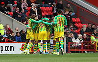 West Bromwich Albion players celebrating the first goal during Charlton Athletic vs West Bromwich Albion, Sky Bet EFL Championship Football at The Valley on 11th January 2020