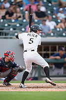 Jake Peter (5) of the Charlotte Knights at bat against the Pawtucket Red Sox at BB&T BallPark on July 6, 2016 in Charlotte, North Carolina.  The Knights defeated the Red Sox 8-6.  (Brian Westerholt/Four Seam Images)