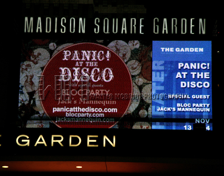 Panic! At The Disco.( Theatre Marquee ).Madison Square Garden, New York City..November 1, 2006.© Walter McBride /  .