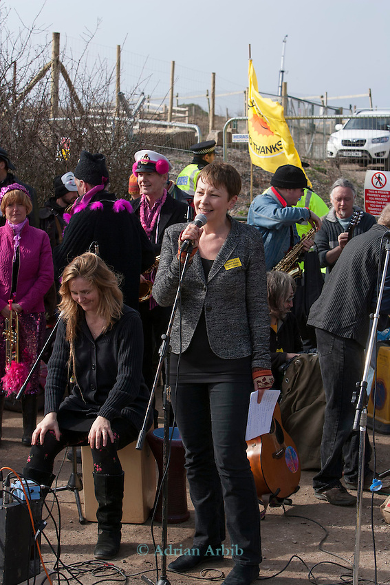 Green MP Caroline Lucas  joins protesters at a march against the building of  Hinkley C power station, Somerset  and the UK government's choice of Nuclear power as the mainstay of England's power supply.