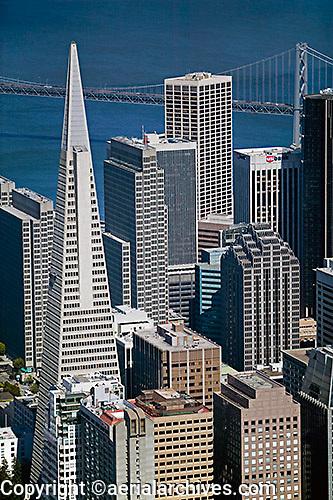 aerial photograph Transamerica pyramid San Francisco financial district