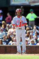 Hagerstown Suns second baseman Willie Medina (17) at bat during a game against the Lexington Legends on May 19, 2014 at Whitaker Bank Ballpark in Lexington, Kentucky.  Lexington defeated Hagerstown 10-8.  (Mike Janes/Four Seam Images)
