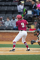 Josh Ellis (9) of the Harvard Crimson at bat against the Wake Forest Demon Deacons at David F. Couch Ballpark on March 5, 2016 in Winston-Salem, North Carolina.  The Crimson defeated the Demon Deacons 6-3.  (Brian Westerholt/Four Seam Images)