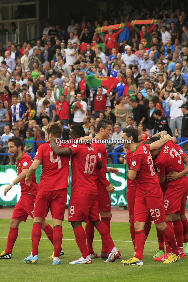 Portugal football team celebrates their first Goal at the World Cup 2014 qualification game against Israel