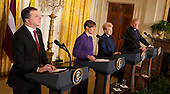 United States President Donald J. Trump participates in a news briefing with President Raimonds Vejonis of Latvia(L),  President Kersti Kaljulaid of Estonia(2nd L) and President Dalia Grybauskaite of Lithuania(2nd R) at The White House in Washington, DC, April 3, 2018.<br /> Credit: Chris Kleponis / Pool via CNP