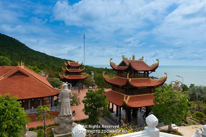 Beautiful Buddhist Temple Ho Quoc near the sea in Phuquoc, Vietnam