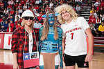 Wisconsin Badgers fans compete in a Halloween contest during an NCAA volleyball match against the Michigan Wolverines at the Field House on October 30, 2010 in Madison, Wisconsin. Michigan won the match 3-1. (Photo by David Stluka)