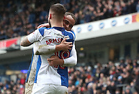 Blackburn Rovers' Adam Armstrong and Blackburn Rovers' Elliott Bennett  celebrate Adam scoring his sides second goal<br /> <br /> Photographer Rachel Holborn/CameraSport<br /> <br /> The EFL Sky Bet League One - Blackburn Rovers v Blackpool - Saturday 10th March 2018 - Ewood Park - Blackburn<br /> <br /> World Copyright &copy; 2018 CameraSport. All rights reserved. 43 Linden Ave. Countesthorpe. Leicester. England. LE8 5PG - Tel: +44 (0) 116 277 4147 - admin@camerasport.com - www.camerasport.com