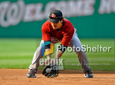 12 July 2008: Houston Astros' second baseman Kazuo Matsui warms up prior to a game against the Washington Nationals at Nationals Park in Washington, DC. The Astros defeated the Nationals 6-4 in the second game of their 3-game series...Mandatory Photo Credit: Ed Wolfstein Photo