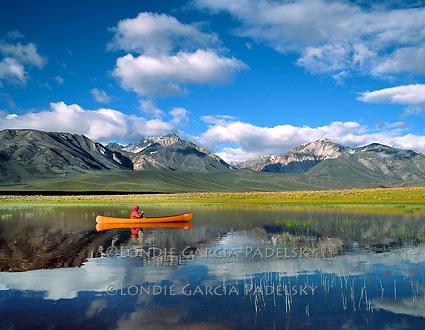 Canoeing on a Sierra Lake, California