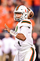 Charlotte, NC - DEC 2, 2017: Miami Hurricanes quarterback Malik Rosier (12) throws the football from the pocket during ACC Championship game between Miami and Clemson at Bank of America Stadium Charlotte, North Carolina. (Photo by Phil Peters/Media Images International)
