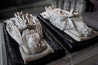 Gisants of Henry II (1519 - 1559) and Catherine de' Medici (1519 - 1589) in coronation vestments, marble, by Germain Pilon, commissionned by Catherine de' Medici in 1583, Abbey church of Saint Denis, Seine Saint Denis, France. Picture by Manuel Cohen