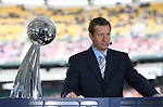 18 November 2007: ESPN broadcaster Rob Stone with the Alan I. Rothenberg trophy. The Houston Dynamo defeated the New England Revolution 2-1 at RFK Stadium in Washington, DC in MLS Cup 2007, Major League Soccer's championship game.