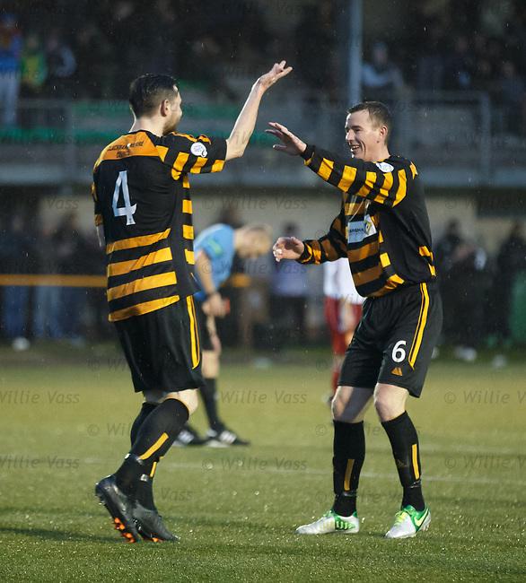 Ben Gordon celebrates his goal for Alloa Athletic with Stephen Simmons