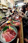 A sushi shop in Tsukiji fish market